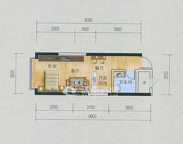 10約平米,同樣為長方形通間戶型設計.